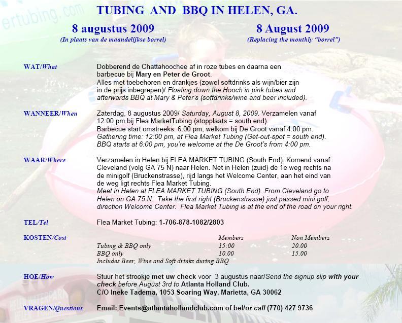 Tubing invitation
